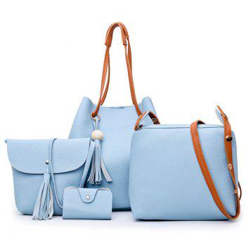 Faux Leather Tassel 4 Pieces Shoulder Bag Set - AZURE AZURE