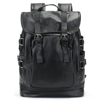 PU Leather Drawstring Double Buckle Straps Backpack - BLACK BLACK