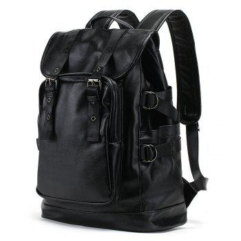 PU Leather Drawstring Double Buckle Straps Backpack -  BLACK