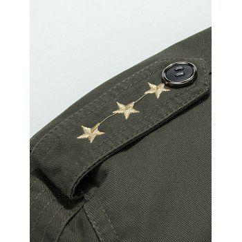 Epaulet Design Star Embroidery Zip Up Jacket - ARMY GREEN M