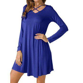 Criss Cross Long Sleeve T Shirt Dress - ROYAL S