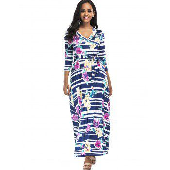 Floral Striped Surplice Belted Maxi Dress - COLORMIX 2XL