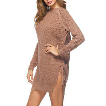 Cable Knit Lace Up Sweater Dress - LIGHT BROWN LIGHT BROWN