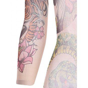 Flower Print Bodystockings with Sleeves - FLORAL ONE SIZE