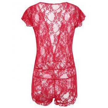 Plunging Neck See Through Lace Teddy - RED ONE SIZE