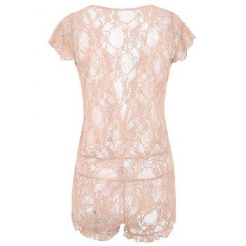 Plunging Neck See Through Lace Teddy - LIGHT APRICOT PINK ONE SIZE