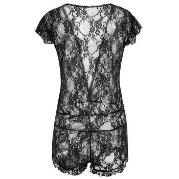 Plunging Neck See Through Lace Teddy - BLACK ONE SIZE
