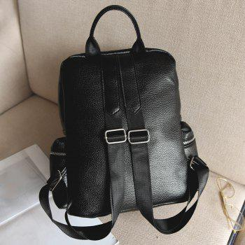 Star PU Leather Embroidery Backpack -  BLACK