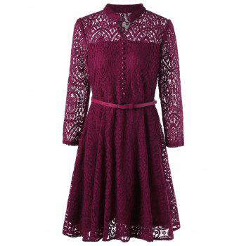 Button Detail Long Sleeve Flare Dress - WINE RED M