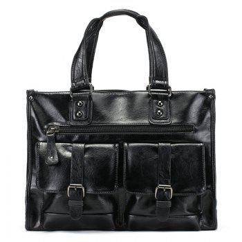 PU Leather Double Buckle Straps Tote Bag - BLACK BLACK