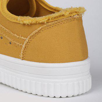 Tie Up Hollow Out Canvas Shoes - YELLOW 37