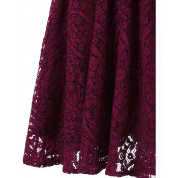 Button Detail Long Sleeve Flare Dress - WINE RED XL