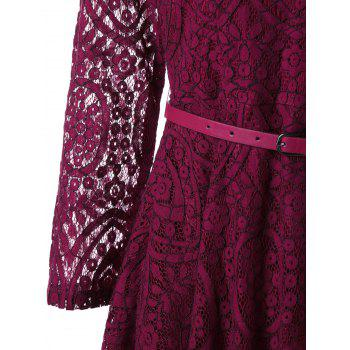 Button Detail Long Sleeve Flare Dress - WINE RED 2XL