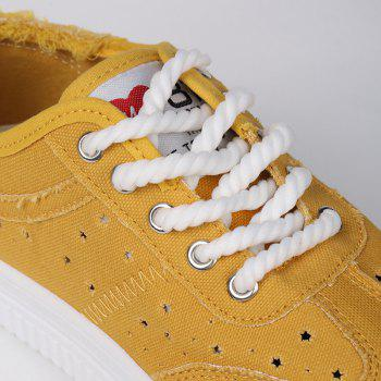Tie Up Hollow Out Canvas Shoes - YELLOW 39