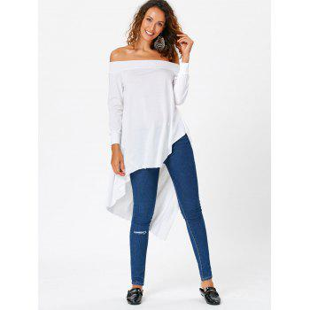 Long Sleeve Off Shoulder High Low T-shirt - WHITE WHITE