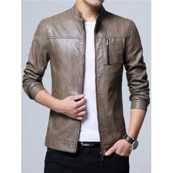 Stand Collar Zipper Up Faux Leather Jacket - 2XL 2XL