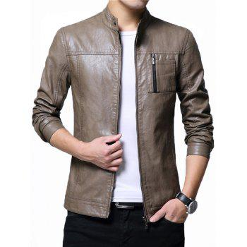 Stand Collar Zipper Up Faux Leather Jacket - KHAKI 2XL