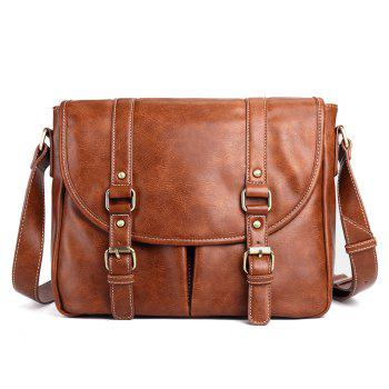 PU Leather Double Buckle Straps Messenger Bag