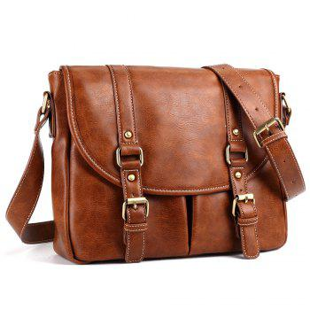 PU Leather Double Buckle Straps Messenger Bag -  BROWN
