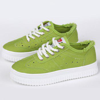 Chaussures de toile Tie Up Hollow Out - Vert 37