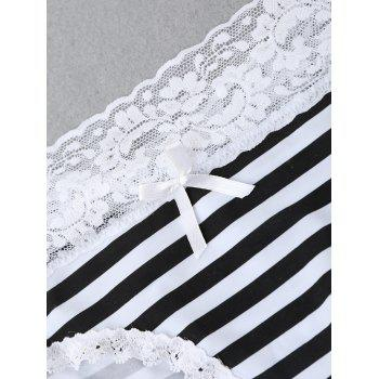 Striped Panties with Lace - WHITE/BLACK WHITE/BLACK
