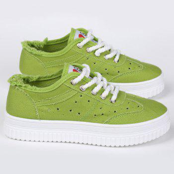 Chaussures de toile Tie Up Hollow Out - Vert 38