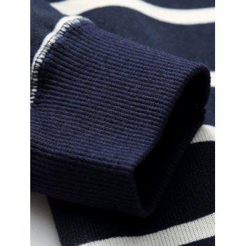 Crew Neck Flocking Striped Sweater - BLUE BLUE