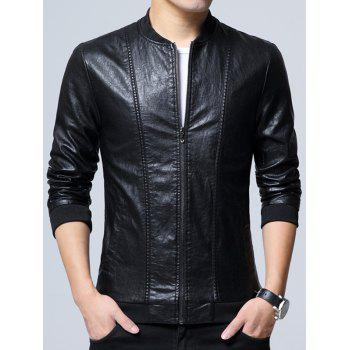 Zipper Up Casual Faux Leather Bomber Jacket - BLACK BLACK