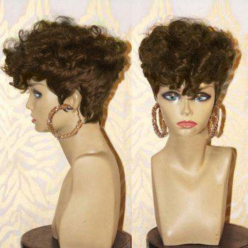 Short Side Bang Layered Shaggy Afro Curly Synthetic Wig - BROWN BROWN