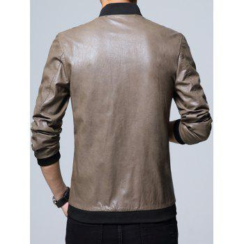 Casual Zipper Up Faux Leather Jacket - XL XL
