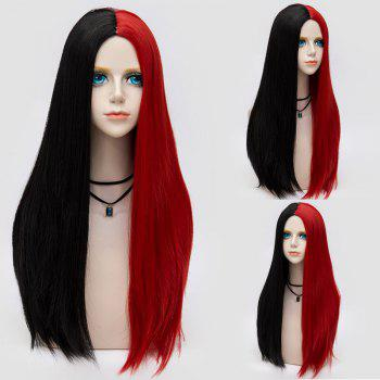 Long Middle Part Two Tone Straight Party Synthetic Wig - BLACK AND RED BLACK/RED