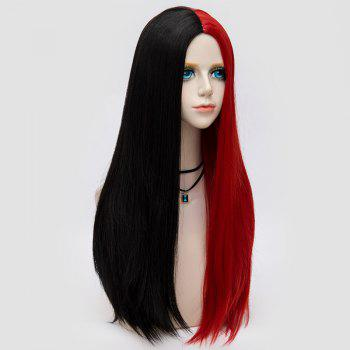 Long Middle Part Two Tone Straight Party Synthetic Wig -  BLACK/RED