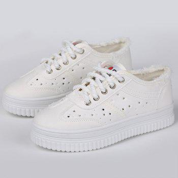 Tie Up Hollow Out Canvas Shoes - WHITE 37