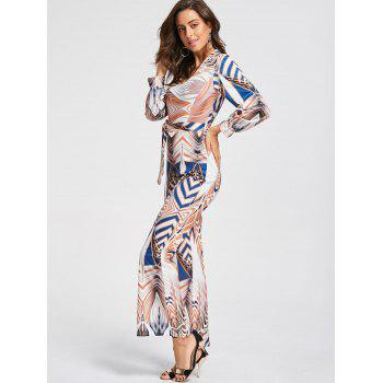 Scoop Neck Geometric Print Flare Jumpsuit - multicolorcolore S