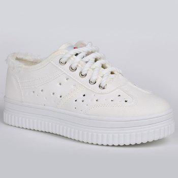 Tie Up Hollow Out Canvas Shoes - WHITE WHITE