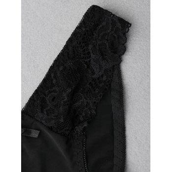 Sheer Lace Panel Panties - BLACK XL