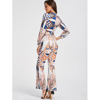 Scoop Neck Geometric Print Flare Jumpsuit - COLORMIX COLORMIX