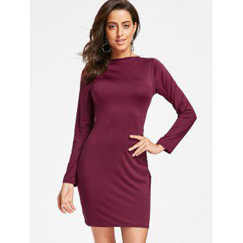 Long Sleeve Full Zip Pencil Dress - WINE RED WINE RED