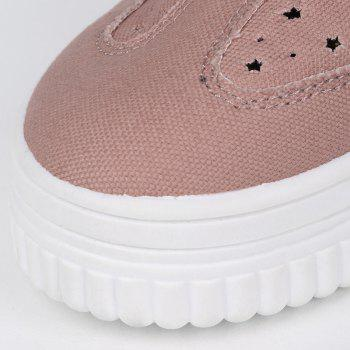 Tie Up Hollow Out Canvas Shoes - PINK 37