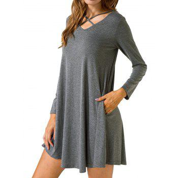 Criss Cross Long Sleeve T Shirt Dress - GRAY 2XL