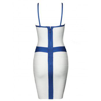 Spaghetti Strap Color Block Bandage Dress - WHITE L