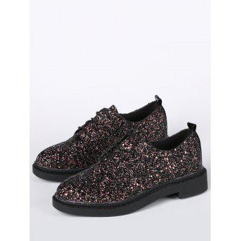 Glitter Low Top Tie Up Flat Shoes - BLACK BLACK