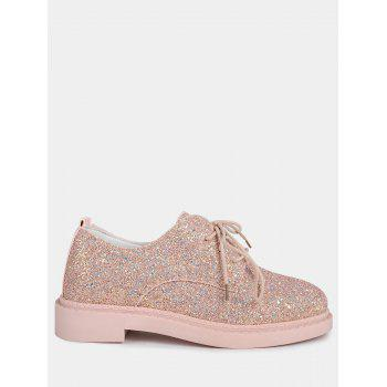 Glitter Low Top Tie Up Flat Shoes - PINK 38
