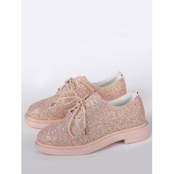 Glitter Low Top Tie Up Flat Shoes - 38 38