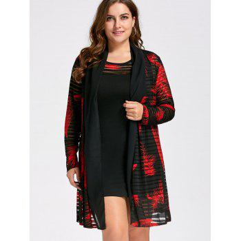 Plus Size Tank Dress with Long Mesh Sheer Cardigan - RED/BLACK 5XL