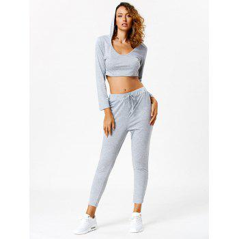 Long Sleeve Hooded Crop Top with Sport Pants - LIGHT GRAY XL