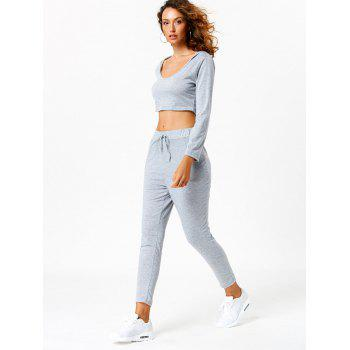 Long Sleeve Hooded Crop Top with Sport Pants - XL XL