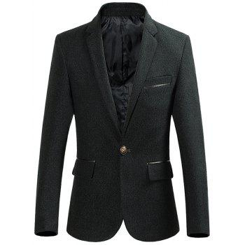 Heathered Lapel Collar One Button Blazer - BLACKISH GREEN L