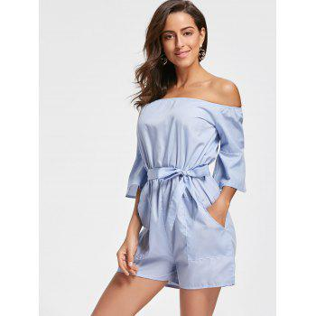 Off The Shoulder Bell Sleeve Romper - CLOUDY L
