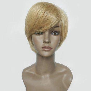 Short Side Bang Straight Human Hair Wig - COLORMIX COLORMIX
